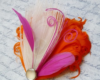 Orange Ivory and Fuchsia Pink Hairclip, Brooch or Corsage - BREE
