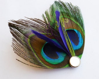 Peacock Bridesmaids Feather Hairclip with Purple and Green Accent Feathers - PETIT PAON Purple