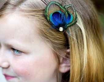 Wedding Flower Girl Peacock Headband - Mini Peacock Feather Headband - Petit Paon - Made to Order