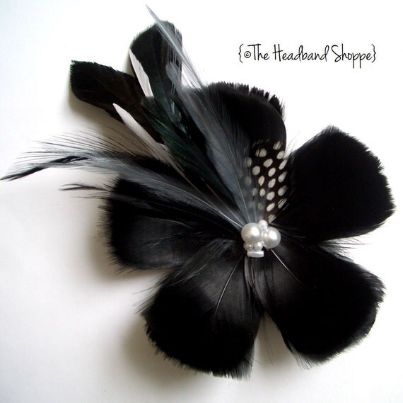 Black and White Feather Flower Fascinator - TUXEDO