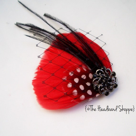 Petite Red Feather Hairclip with Black Ostrich Feathers and Birdcage Veiling - MILA PETITE RED