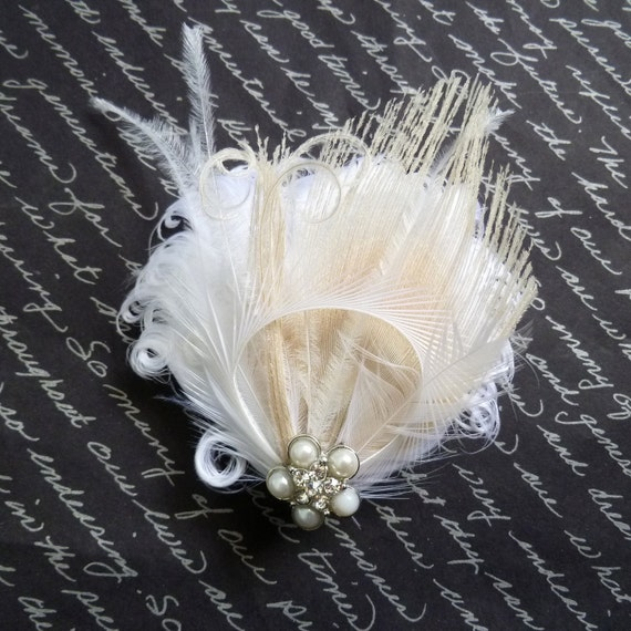 WINTER MINI - Petite White and Ivory Crystal Bridal Feather Fascinator - Made to Order