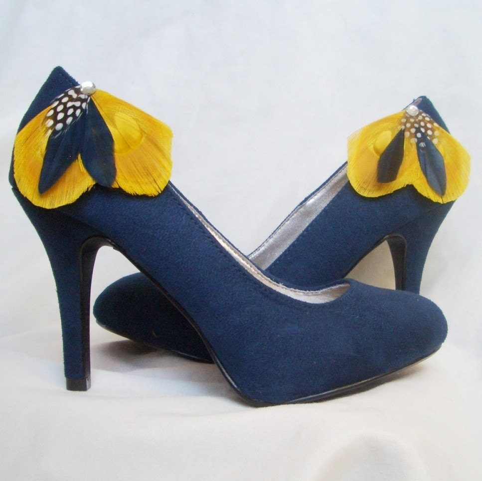 Navy Blue And Yellow Heels - Is Heel