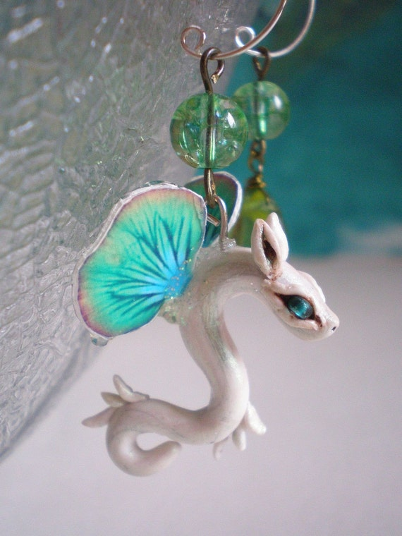 Leaf and Blossom Whirr earrings Tiny Fairy Dragon