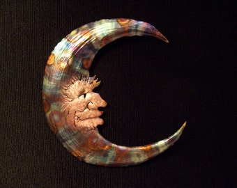 Copper Sculpture, Man-in-the-Moon, Wall Sculpture, Sculpture, Wall Art, Wall Hanging, Copper, Handmade, Gift, Man in the Moon Wall Art