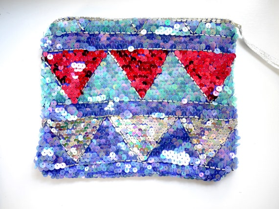 Sequin Zippered Makeup Pouch recycled from a vintage blouse