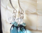 Stirring Seas Earrings - AAA London Blue Topaz Giant Teardrops with Sapphire and Extreme Blue Fire Moonstone Rondelles