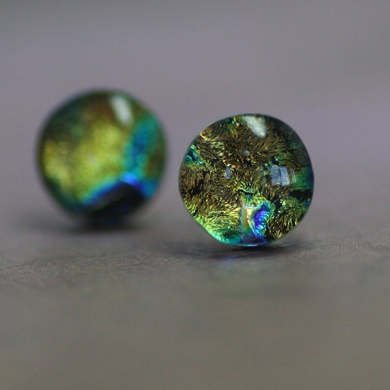 Earth Earring Studs - Dichroic Glass Button Earrings - Round Post Earrings