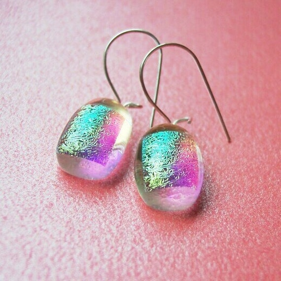 Mystic Magic Earrings - Dichroic Fused Art Glass Jewelry - Sterling Silver