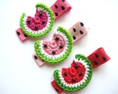 Crochet Watermelon Clippies (Set of 3) RESERVED