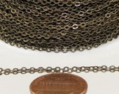 32 ft spool of Antique Brass little Oval Flat Soldered Cable Chain 2.4x1.7mm