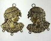 10 pcs of Antique Brass finished filigree drop dangle earring - 37x33mm