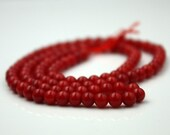 3 strand of Red Bamboo Coral round beads - 4mm