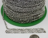 Rhodium Plated Figaro Chain Bulk, 50 ft Antique Silver Long and Short Chain FIGARO chain 7x3mm - Necklace Bracelet Wholesale Chain