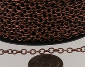 100 ft. spool of Antique Copper Finished Round Cable Chain - 3.2mm Unsoldered Link