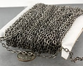 12 ft of Gunmetal finished Textured Cable Chain - 4X3mm unsoldered link
