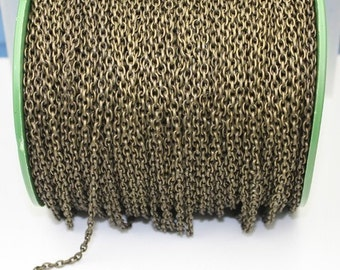 Antique Brass Drawn Chain Bulk, 32 ft spool of Bronze DRAWN cable chain 4X3mm - unsoldered link,Bulk Necklace Chain