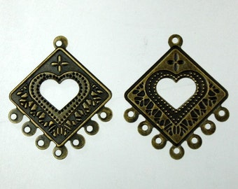 20 pcs of Antique Brass finished filigree drop dangle earring - 30x25mm