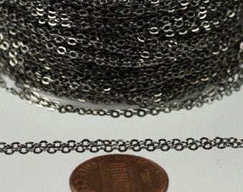 5 ft spool of Gunmetal finished brass little Oval Flat Soldered Cable Chain 2.4x1.7mm