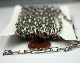 32 ft. Textured Rhodium/Antique Silver finished Drawn Cable chain - 6.3x3.5mm unsoldered link