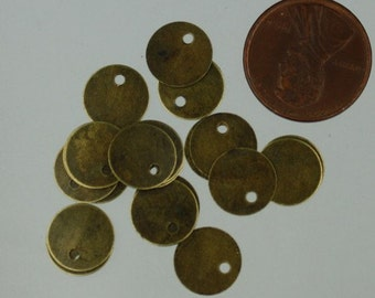 100 pcs of Antique Brass Finished Blank Coin drop 10mm