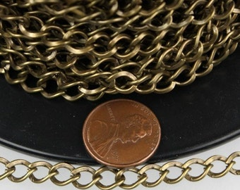 10ft of Antique Brass Finished Big Hammered Curb Chain - 7.8x6.0mm Unsolodered Link 18G