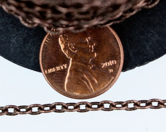 12 ft of Antique Copper finished Textured Cable Chain - 4X3mm unsoldered link