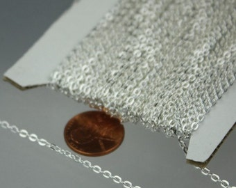 SALE Sale 50ft spool of Silver Plated Flat Round cable chain - 3x2.2mm - unsoldered link