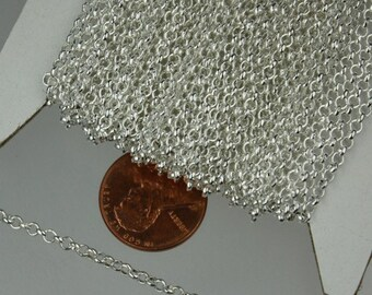Sterling Silver Plated Rolo Chain bulk, 32 ft of Rolo Cable Chain 2.5mm - Unsoldered Links - Necklace Bracelet Wholesale Bulk Jewerly Chain
