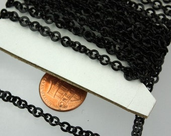 SALE Sale 32ft of Black Flat Round cable chain - 4.1mm - unsoldered Links