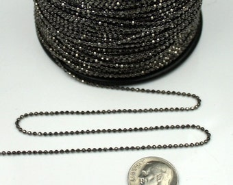 Gunmetal facet BALL Chain - 32 ft. spool of Brass bulk Ball chain Necklace Bracelet Wholesale - 1.5mm w/ FREE 100 connectors (Insert Type)