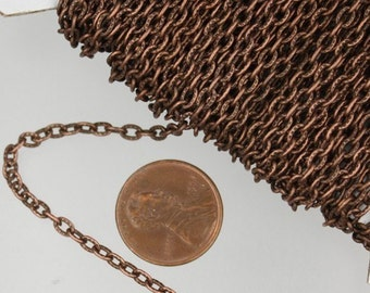 50 ft of Antiqued copper textured round cable chain 3x2mm - unsoldered link