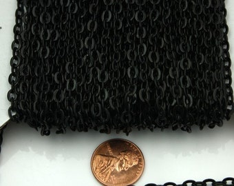 Black Flat Chain Bulk, 100 ft. of Flat Oval Cable Chain - 4x3mm Unsoldered- Necklace Bracelet Wholesale DIY Chain