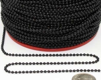 32 ft. spool of black ball chain - 2.0mm ball size with FREE 10 Connector (Insert ttype - Black)