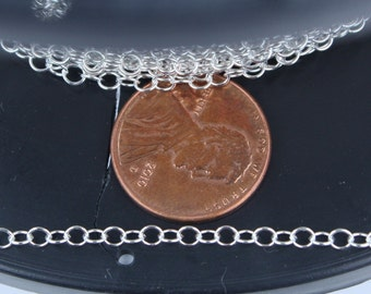 5 ft. of 925 Sterling Silver Round Cable Chian - 3x2.6mm Soldered Link
