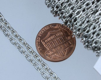 Rhodium Plated Texture Chain Bulk, 32 ft. of Antique Silver Flat Texture Oval Chunky Cable Chain - 4x3mm Unsoldered- Necklace Bracelet Chain