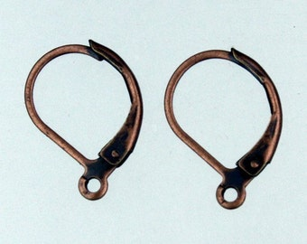 100 Antique Copper Leverback Earrings earwire - 10X16mm