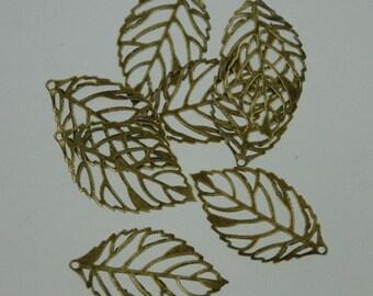 100 pcs of antiqued Brass finished leaf filigree focal 32x18mm
