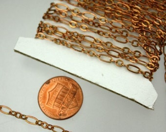 RAW Copper Chain Bulk, 32 ft of ( 3 and 1 ) Long and Short Chain Flat Cable Chain Necklace Bracelet Chain 6.3 N 4mm - SOLDERED Links