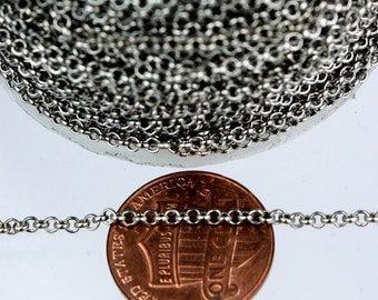 Gunmetal Rolo Chain bulk, 50 ft of Rolo Cable Chain 2.0mm - Unsoldered Links - Necklace Bracelet Wholesale Bulk Jewerly Chain