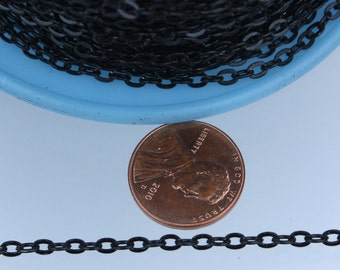 12ft of Black Flat cable chain 3.7x2.7mm - unsoldered Links