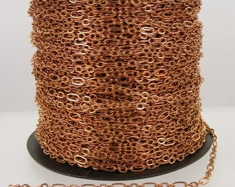 Antique Copper Chain Bulk, 300 ft of ( 3 and 1 ) Long and Short Chain Flat Cable Chain Necklace Bracelet Chain 6.3 N 4mm - SOLDERED Links