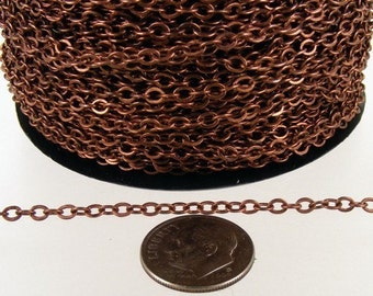 Antique Copper Chain Bulk Chain, 12 ft spool of Antique Copper finished  Brass Flat Soldered Cable Chain 3.4x2.9mm