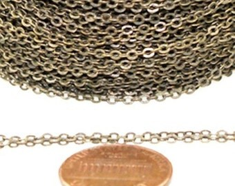 300 ft Antique Bronze Chain - 2.4x1.7mm SOLDER Chain - Antique Brass little Oval Flat Soldered Cable Chain - Bulk Wholesale Chain - from USA