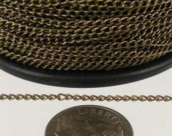 Antique Brass Chain Bulk, 100ft. spool of Antique Brass little curb chain - 1.5mm Unsoldered link