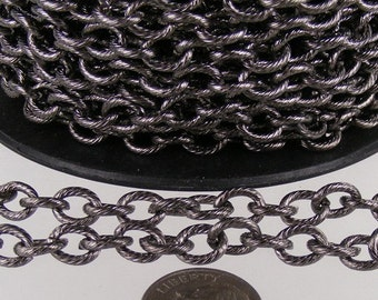 10 ft of Gunmetal plated oval texture cable chain - 8x6mm - unsoldered link