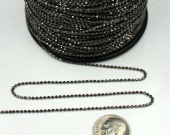 Gunmetal facet BALL Chain - 10 ft. spool of Brass bulk Ball chain Necklace Bracelet Wholesale - 1.5mm w/ FREE 10 connectors (Crimp Type)