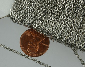 SALE Sale 300 ft spool of Rhodium Plated Flat Round cable chain - 3x2.2mm - unsoldered link