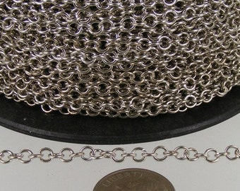 12 ft. spool of Rhodium Plated Round CIRCLE Cable Chain - 3.2mm Unsoldered Link