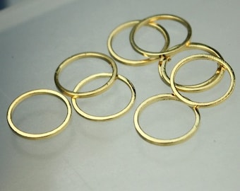 14mm Jump Rings - 20 pcs of 24K Gold plated on Solid Brass Link Jumprings - 14m 16Ga Closed Ring